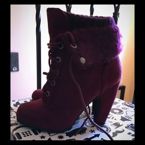 Shoes - Bamboo Sweater Bootie - Burgundy