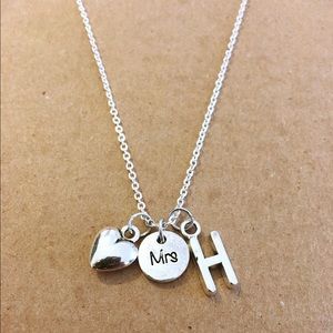 Mrs initial charm necklace