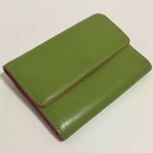 Lodis Handbags - Green & Valentine Pink Trifold Wallet