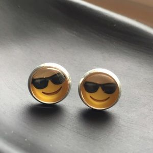 Cute Jewelry - Emoji Fun Face Sun Shades Stud Earrings New