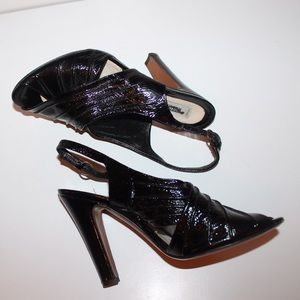 Moschino black patent leather peep toe pumps