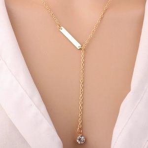Bar and Rhinestone Gold Necklace