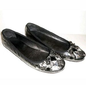 PRADA Silver Jewel Toe Metallic Flats