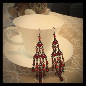 Chandelier Earrings with red crystals