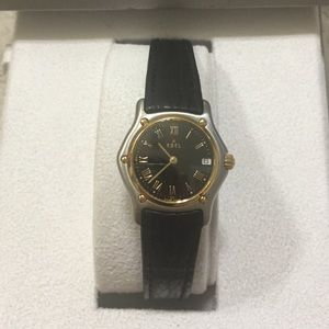 Ebel Accessories - Ladies 2 tone 1911 mini with black leather band