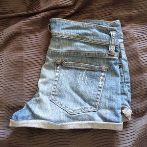 Light Distressed Denim Shorts