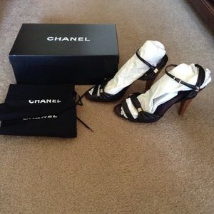 "Chanel leather sandal with stacked wooden 3"" heel"