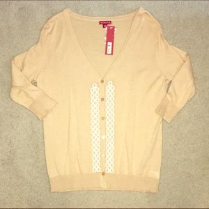 Merona Sweaters - NWT Embellished Cardigan with White Details