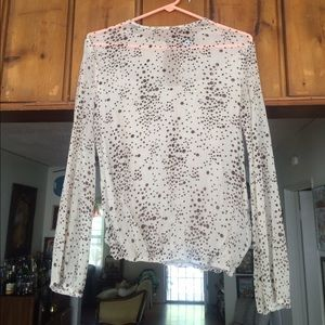 dotted long sleeve sheer blouse
