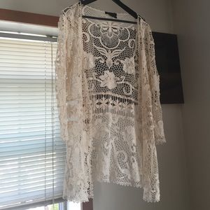 Cream colored cotton lace sweater- Large