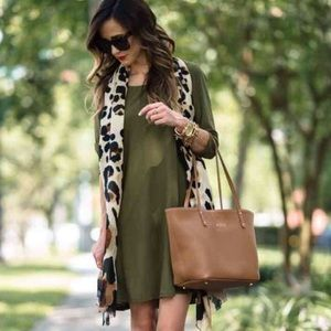 leith olive green flowy silky top