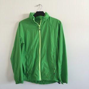 Green Cabela's rain jacket with hood