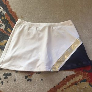 Gold, White, and Navy Tennis Skirt