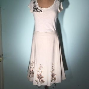 Willi Smith Dresses & Skirts - Willi Smith gored linen/rayon beaded detail skirt