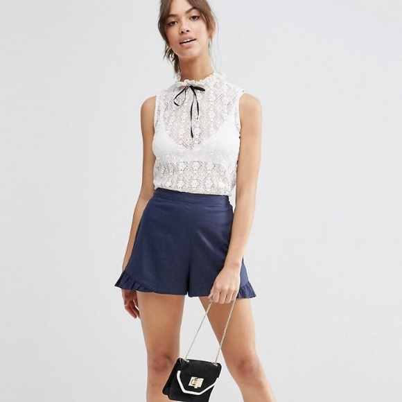 58% off Asos Pants - High Waisted Ruffle Shorts from Maricia's ...