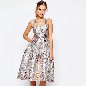 Metallic Jacquard Midi Dress