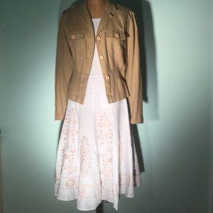 Sunny Leigh Dresses & Skirts - Sunny Leigh white linen gored skirt w/wooden beads