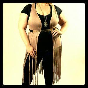 Jackets & Blazers - Tan Fringe Vest/Cardigan