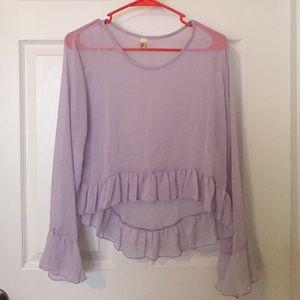Sheer long sleeve purple blouse