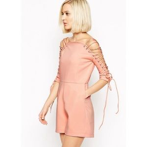 Asos Dresses & Skirts - [lavish alice] romper w lace up sleeves