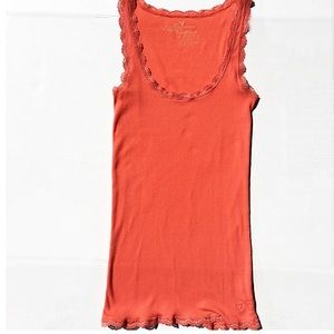 American Eagle  coral tank, lace details-  AE