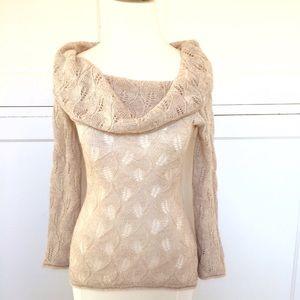 ARDEN B Cream Cowl Neck Metallic Sweater XS