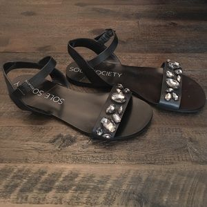 Sole Society Jeweled Flat Sandals