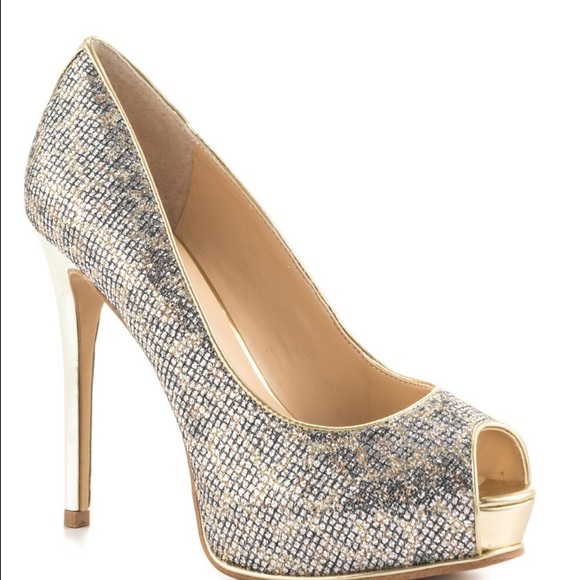 33% off GUESS Shoes - guess shiny gold and silver heels from !'s ...