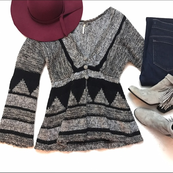 87% off Free People Sweaters - FREE PEOPLE Gray Black Nordic Fair ...