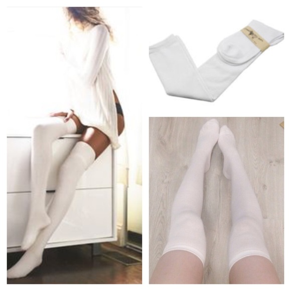 78a737138 White Thigh High Wool Thigh High Socks