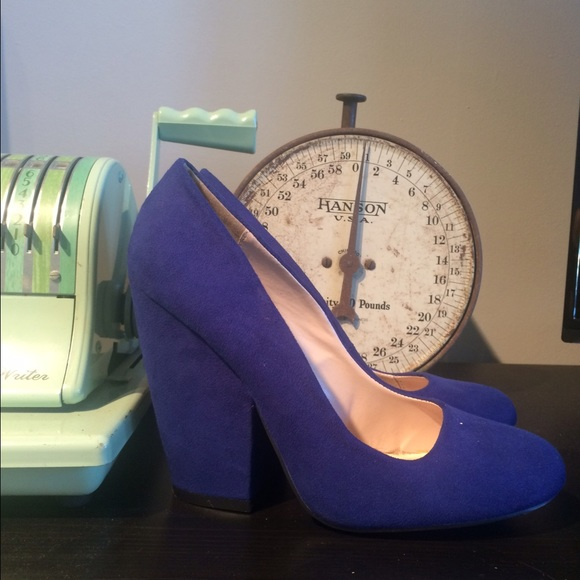 70% off Qupid Shoes - NWOT Royal Blue / Purple Block Heel Pumps ...