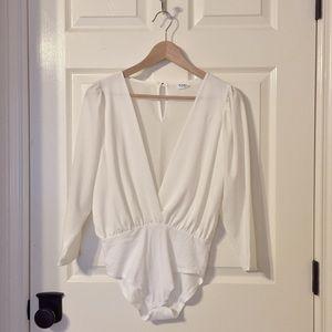 White Chiffon Bodysuit