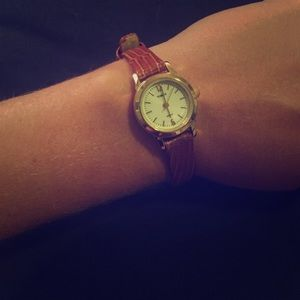 Timex Jewelry - Brown leather and gold Timex watch
