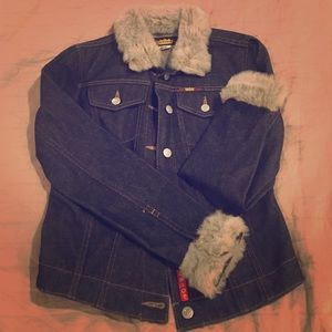 Todd Oldham Jackets & Blazers - Jean jacket with faux fur collar and cuffs