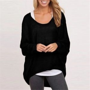 Casual black pullover knit