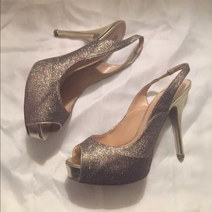 Guess Glitter Peep-toe Pumps