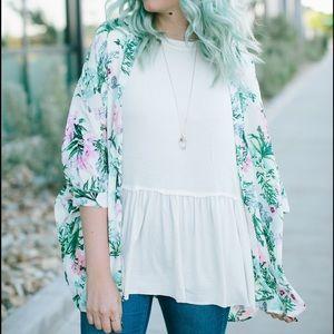 Goodnight Macaroon Tops - Sheer Floral Kimono