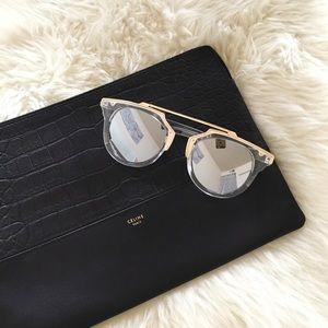 Boutique Accessories - Lucite Gold Reflective Mirrored Sunglasses