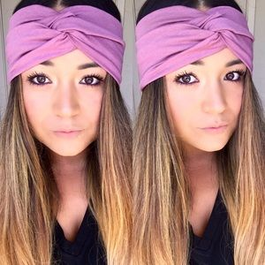 The faux turban in mauve love