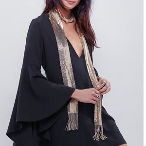 Free People Accessories - Free People Gold Chainmail Skinny Fringe Scarf
