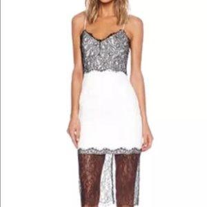 Nicholas Dresses & Skirts - Nicholas black over lace white dress size 0, xs