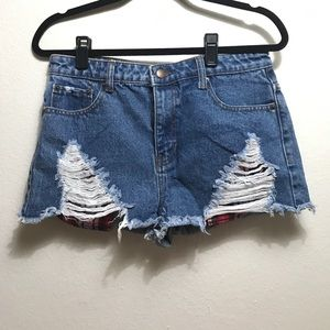 NWOT Distressed denim shorts