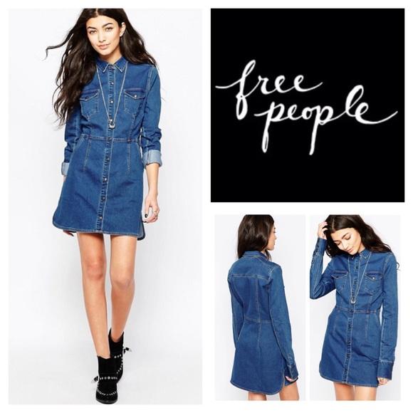 c5865da84f Free People Dynomite Denim Mini Dress. NWT.