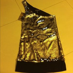 Guess Gold Sequin One Shoulder Tank