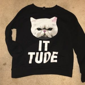 """Catitude"" forever21 Graphic hoodie"