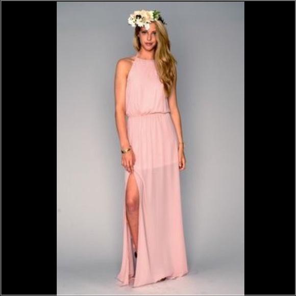 9bd7198d741 Show me your mumu bridesmaid maxi blush dress. M 57bbdd137fab3a2e3800538c
