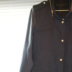 Zara navy jacket with leather sleeves