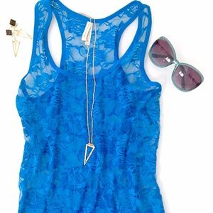 Color Story Tops - Blue Lace T-Back Tank • Sheer