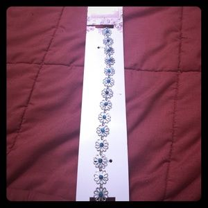 ENCHANTE Silver and Turquoise Chain Headband -AC-8