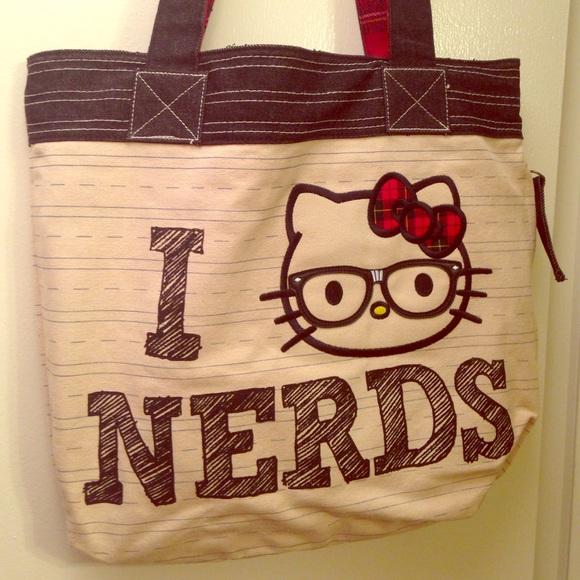 4fb8be690e Hello Kitty Handbags - HELLO KITTY I Love Nerds Rare School Tote Bag 🤓🍎